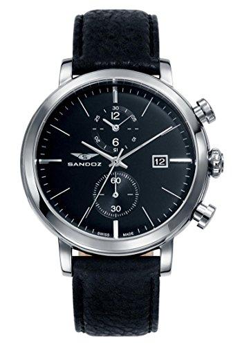 Sandoz 81389-57 - Reloj de Pulsera, Correa de Piel, Color Negro