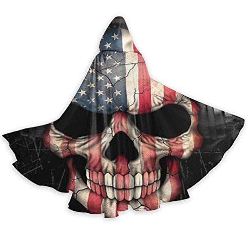 KDU Fashion Witch Cloak,Dj Skull Mit American Flag Music Adult Wizard Umhang, Awesome Witch Cloak Umhänge Für Witch Wizard Kostüme,40x150cm