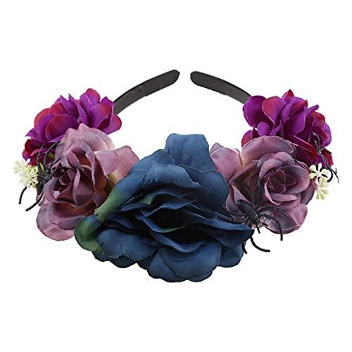 KAMONDA Aro para el Pelo, Diadema con Calavera de araa del da de los Muertos, aro para el Pelo con Corona Floral y Rosa Multicolor, 15x14cm