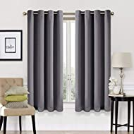 Blackout Curtains 2 Panels Set Thermal Insulated Window Treatment Solid Eyelet Darkening Curtain for...