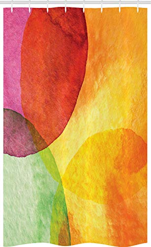 ABAKUHAUS Abstrakt Schmaler Duschvorhang, Aquarell Moderne Kunst, Badezimmer Deko Set aus Stoff mit Haken, 120 x 180 cm, Gelb Orange Limonen Green