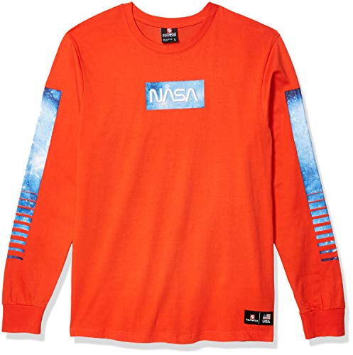 Southpole Men's NASA Collection Fashion Tee Shirt (Short & Long Sleeve), Orange Logo Plain, Large