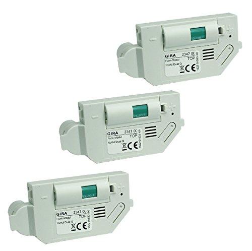 Gira Funkmodul 234700 für Rauchwarnmelder Gira Dual Q 233602 und 233002 - 3er Pack