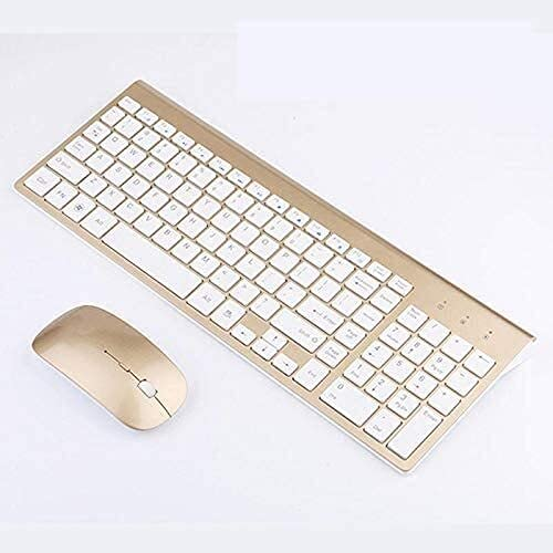 RQHZX High Precision Wireless Keyboard and mou 2.4G Radio Miniskirt Ultrathin Keyboard and Mouse Set for PC Computer Super Fashion Design (Color : Gold) (Color : Black)