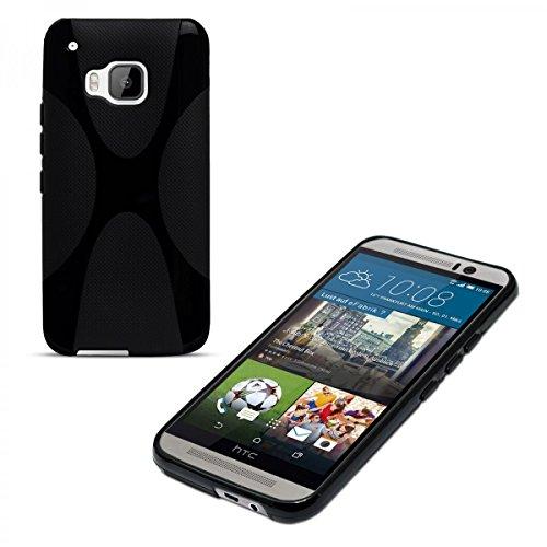 eFabrik Silikonhülle für HTC One M9 & HTC One M9 Prime Camera Edition Hülle Cover Smartphone X-Line Hülle Handy Zubehör TPU Silikon schwarz