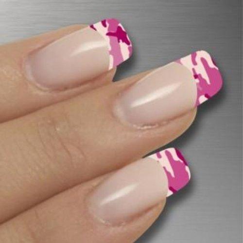 Nagelfolien/Frenchnails/Finger/Pink Camouflage- selbstklebend mit individuellen Designs by Glamstripes- made in Germany. 12 Nail Wraps äußerst strapazierfähig mit langer Haltedauer