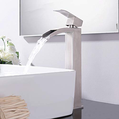 "VCCUCINE Modern Vessel Sink Brushed Nickel Tall Waterfall Bathroom Faucet, Single Handle Mixer Vessel Sink Faucet with Two 3/8"" Hoses"