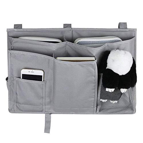 MoYag Bedside Storage Organizer, Bedside Caddy Hanging Storage Bag for Bunk and Hospital Beds, Dorm Rooms Bed Rails,Baby Bed,Baby Cart,Car Backrest with 8 Pockets (Grey)