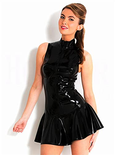 SMGZC Sexy Mujer Sin Mangas Vestido de una Pieza Negro Brillante PVC Charol Catsuit Vestidos Aspecto Mojado Club Ropa (XL)