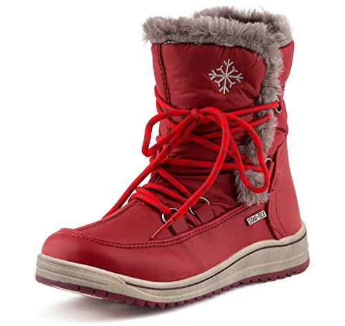 Fusskleidung Damen Schlupf Schnee Stiefel Winter Boots Gefüttert Stiefeletten Kunstfell Schnür Schuhe Rot EU 39
