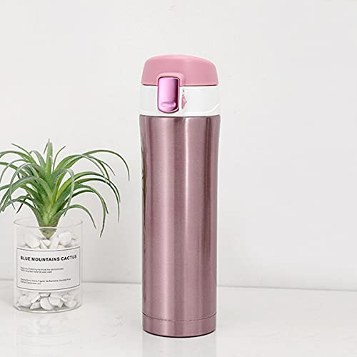 Mosako Vacuum Bottle Stainless Steel Thermos Insulated Water Bottle Travel Cup Coffee Tea Cup 500ml Hot Cup (Rose Red)