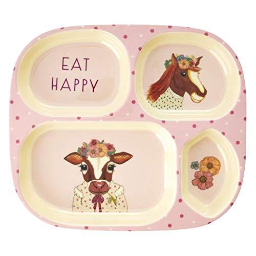 Rice Farm Animals rosa, 4-teiliger Teller