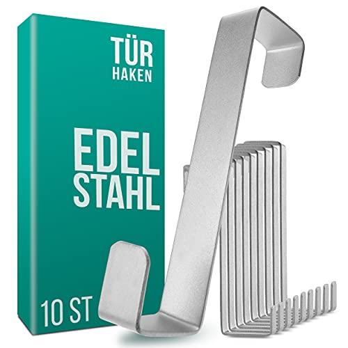 4smile Türhaken zum Einhängen – 10er Set, Edelstahl – Made in Germany Kleiderhaken für die Tür – weil Ordnung halten so leicht sein kann