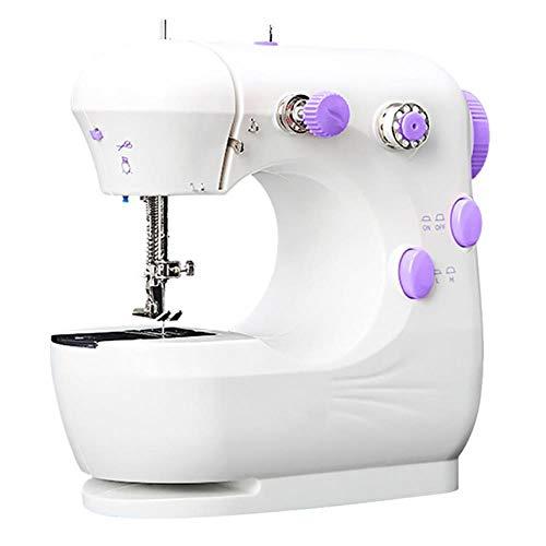 xiaocheng Multifunción de Costura doméstica Uso del teléfono móvil, Mini máquina de Coser eléctrica para el rebobinado de Rodadura máquina de Coser,White