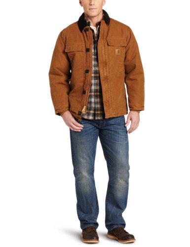 Carhartt Men's Big & Tall Arctic-Quilt Lined Sandstone Duck Traditional Coat C26,Carhartt Brown,XXX-Large Tall