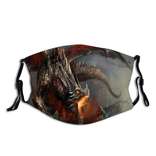 Fillter Face Cloth For mens and womens,Fantasy Scene Fearless Knight Dragon Mythology Art Antique,Cold Mouth Dustproof Double Protection