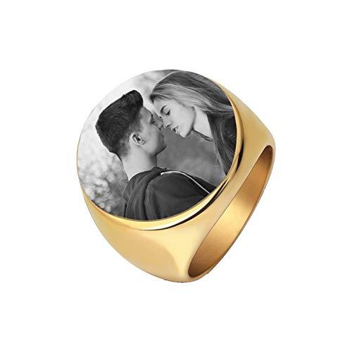 Personalisierter Fotoring Individueller Ring Silberring Paar Ring Geburtstag Geburtstag Valentinstag Personalisiertes Geschenk für Freundin Freund(Gold 17.25)