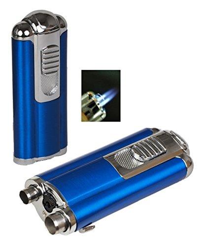 Lifestyle-Ambiente Tycoon Oscar Doppel-Jet Zigarren Feuerzeug Zigarrenbohrer blau metallic inkl Tastingbogen