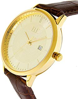 ELIZ Men's Brown Leather Watch with Gold Case