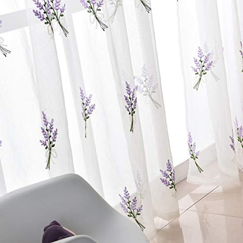 HM&DX Lino Ricamate Tende Trasparenti Occhielli Lavanda Decorazione Voile Tenda Finestra Salotto Balcone Camera da Letto -Porpora 200x270cm(79x106inch