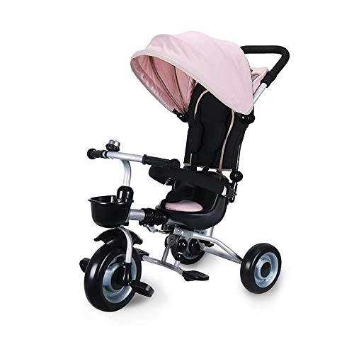 HYDDG Trikes Kinder Kinder Dreirad Fahrrad Baby Pedal Auto Leicht Falten Wagen 2-5 Jahre Alt mit Dachfenster,Rosa