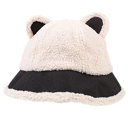 SOIMISS Mujeres Cubo Sombrero Lana Cubo Sombrero con Orejas Invierno Sombrero Pescador Fuzzy Faux Fur Bucket Caps
