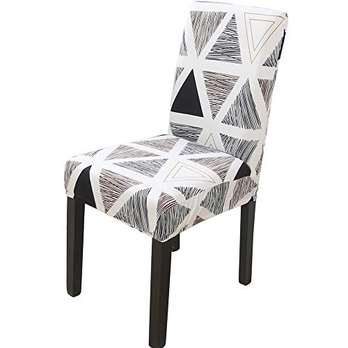 Chair Covers Set of 4/6 Stretch Modern Chair Slipcovers for Dining Room Kitchen Wedding Party(Black and Brown, 4pcs)