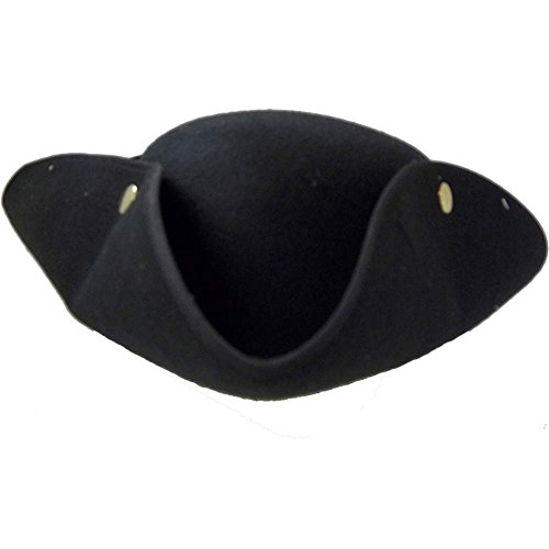 Jacobson Hat Company Men's Tricorne Hat with Snaps, Black, Adult