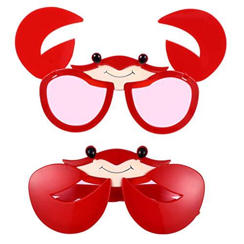 jojofuny 2 Piezas Gafas de Sol Novedosas Anteojos en Forma de Cangrejo Anteojos Divertidos para Fiestas Gafas Accesorios para Fotos para Cumpleaños Cosplay Hawaiano Tropical Fiesta