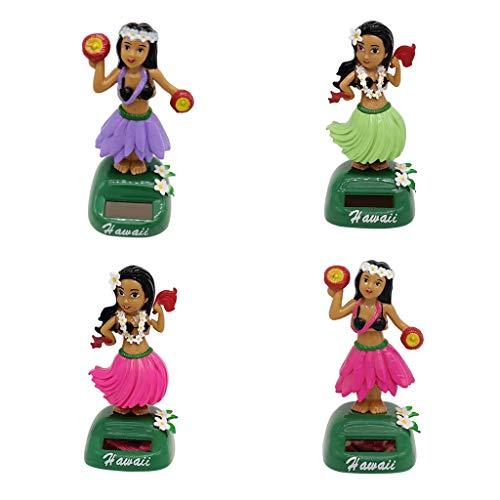 4X Mini Hula Girl Wackel Solarfigur Auto Wackelfigur Tanzende Figuren, Größe: 5 x 6 x 11cm