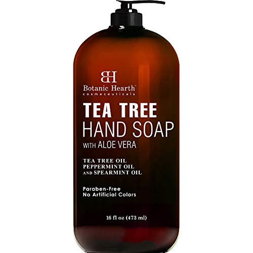 Botanic Hearth Tea Tree Liquid Hand Soap - Sulfate Free Formula - Multi Purpose Hand Wash with Aloe Vera and Therapeutic Grade Tea Tree Oil, Pump Dispenser - 16 fl oz