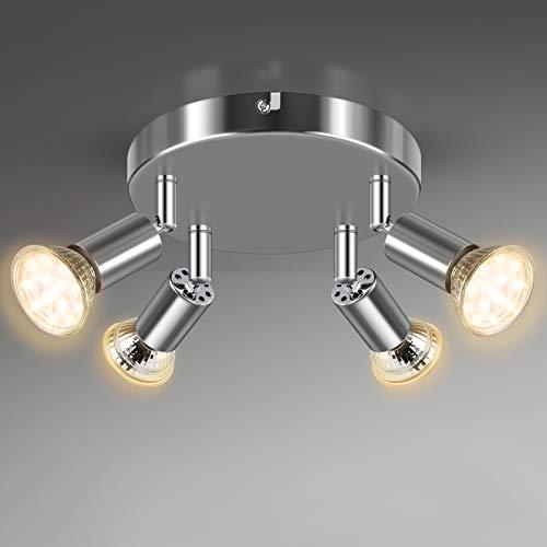 Unicozin 4 Flammig LED Deckenstrahler, LED Deckenleuchte inkl. 4 x 4W GU10 LED Leuchtmittel (400LM, Warmweiß), ø180mm, Weiß Chrom Deckenspot Schwenkbar, für Küche Wohnzimmer Schlafzimmer