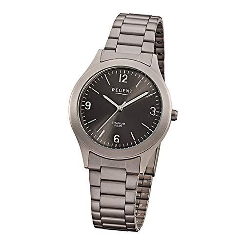 Regent Reloj de Pulsera Titanio Hombre Relojes de colección de Hombre Reloj con Correa de Titanio (Metal) Gris Plata Cuarzo d1urf838