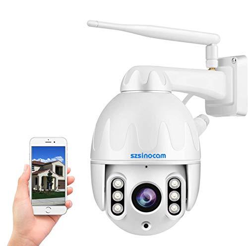 PTZ IP Dome überwachungskamera Aussen,1080P Schwenkbare WLAN IP Kamera mit Zweiwege-Audio,8X optischer Zoom,...