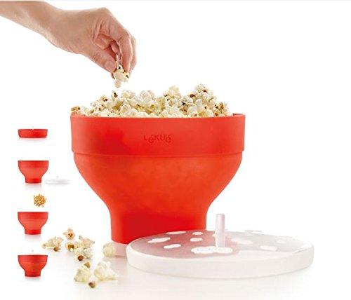 Great Price! Lekue Microwave Popcorn Popper/ Popcorn Maker, Red - Set of 2