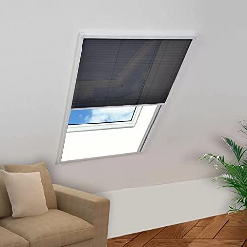 vidaXL Insektenschutz Dachfenster Plissee Fliegengitter Fliegennetz Mückenschutz Gitter Insektennetz Bausatz Insektenschutzfenster Alurahmen 80x120cm
