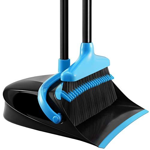 Homemaxs Broom and Dustpan Set, [Newest 2020] Long Handle Broom with Dustpan, Upright Dustpan with Upgrade Combo for Thorough Sweeping, Good Grip Dustpan and Lobby Broom for Pet Hair