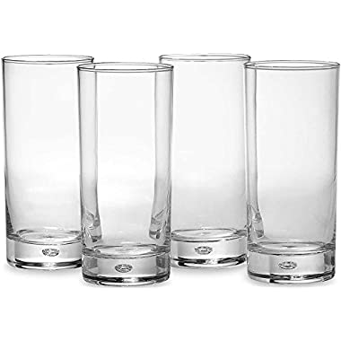 Circleware CG Oslo Air Bubble Glass Drinking Glasses Set, 18 Ounce, Set of 4, Clear Heavy Base with Air Bubble Design in Glass