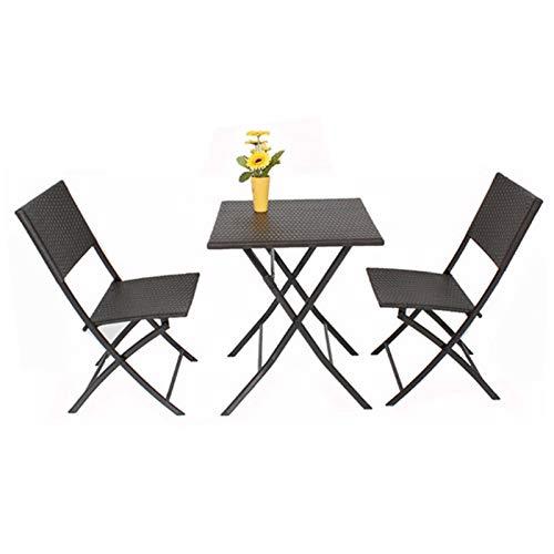DNNAL Conjuntos de Muebles de Porche del Patio, Mesa de ratán y Silla al Aire Libre Combinación de Ocio Patio de Ocio Balcón Jardín Mesas y Sillas Muebles de Rattan Villa