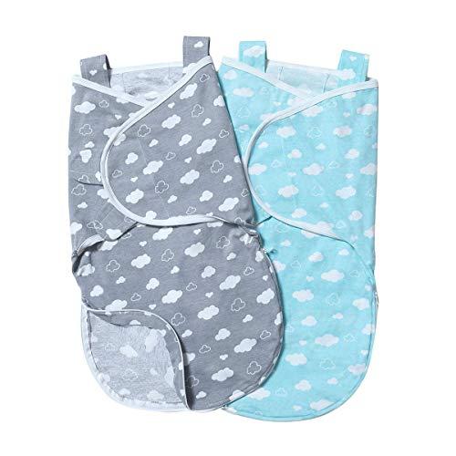 Minetom 2er Baby Pucksack Wickeldecke Schlafsack Neugeborene Schlafsack Decke für Säuglinge mit Schulterriemen(0-6 Monate) (Blau+Grau)