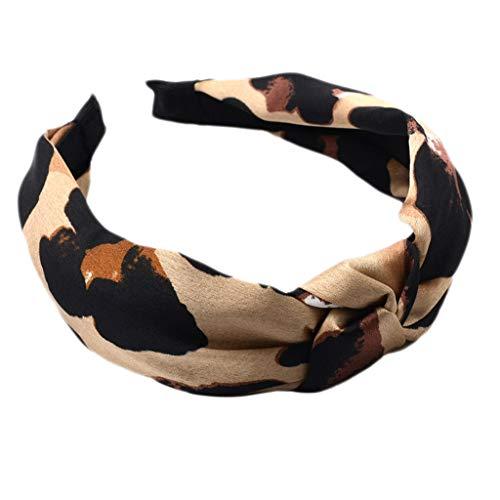 VIccoo Vrouwen Dames Boheemse Faux Zijde Satijn Haarband Digitale Drukken Luipaard Animal Getextureerde Haar Hoop Twist Geknoopt Brede Vintage Hoofdband