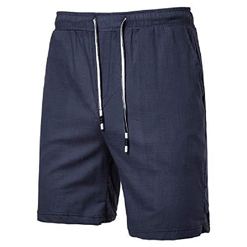 NOBRAND Summer 2020 - Pantaloni casual da uomo, in cotone e lino, taglie forti blu navy XL
