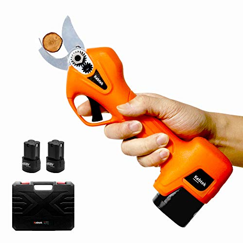 Kebtek Pruning Shears Battery Powered, Electric Pruning Shears Electric Branch Scissors Cordless with Brushless Motor 2 Pack Rechargeable 2Ah Lithium, 25mm [0.98inch] Cutting diammeter (Orange)