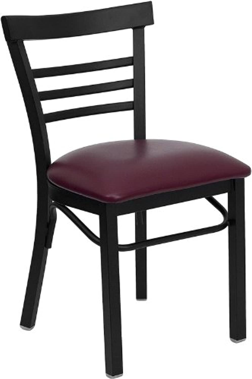 Flash Furniture XU-DG6Q6B1LAD-BURV-GG HERCULES Series Black Ladder Back Metal Restaurant Chair - Burgundy Vinyl Seat
