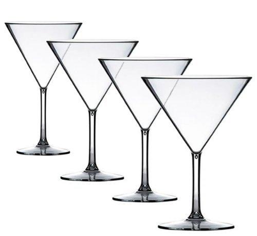 4 X Premium Martini Cocktail Polycarbonates look like vero vetro But INFRANGIBILE plastica. ideale per pic-nic esterno piscina, Grigliata, giardino. lavabile e reusable. lavabile in lavastoviglie