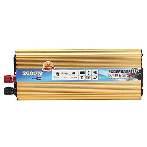 LICHONGUI Inversor de energía 2000W DC 12V A CA 220V Adaptador conversor del automóvil Suministro de Cargador USB