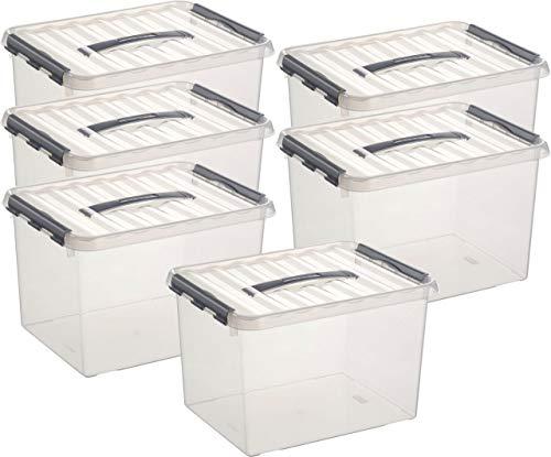 Sunware Aufbewahrungsbox - 6 Boxen à 22 Liter im Set / 40 x 30 x 26 cm mit Clic-Verschluß und Tragegriff