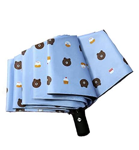 SHUANGJ Patrón de Oso Paraguas de Apertura y Cierre Totalmente automático, Paraguas de Vinilo Triple Plegables, Paraguas, sombrilla Sky Blue
