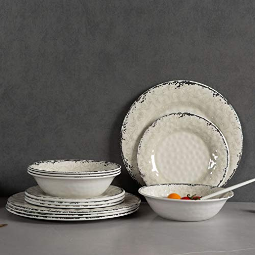 Melamine Dinnerware Set for 4 - 12pcs Dinnerware Dishes Set for Indoor and Outdoor Use, Dishwasher safe, Unbreakable, Light Grey