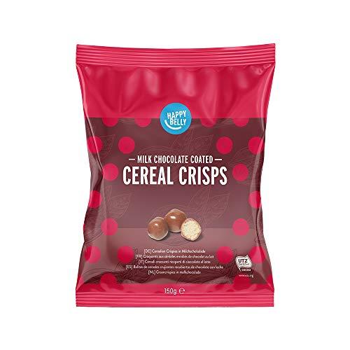 Marca Amazon - Happy Belly Bolitas de cereales crujientes recubiertas de chocolate con leche 150g x 6